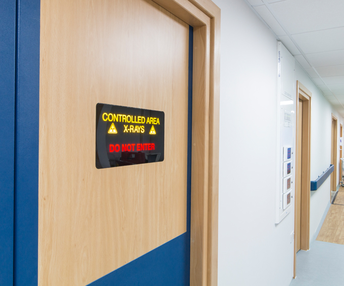 Flush Mounted Door Warning Lights - Raybloc X-Ray Protection